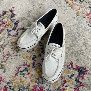 Sperry topsider white canvas boat shoes